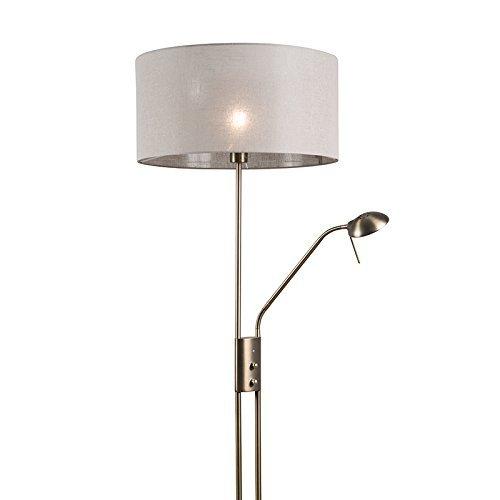 QAZQA Modern Stehleuchte / Stehlampe / Standleuchte / Lampe / Leuchte Luxor Bronze mit 50 cm Schirm taupe Metall / Textil / Rund E27 Max. 1 x 40 Watt Dimmer / Dimmbar