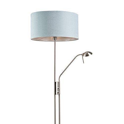 QAZQA Modern Stehleuchte / Stehlampe / Standleuchte / Lampe / Leuchte Luxor Stehlampe mit Lampenschirm 50cm mineral Metall / Textil / Rund E27 Max. 1 x 40 Watt Dimmer / Dimmbar