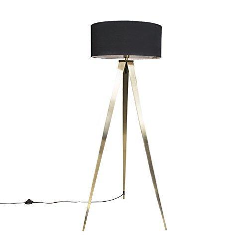 QAZQA Modern Stehleuchte / Stehlampe / Standleuchte / Lampe / Leuchte Tripe Messing mit schwarzem Lampenschirm Metall / Textil / Länglich LED geeignet E27 Max. 1 x 60 Watt