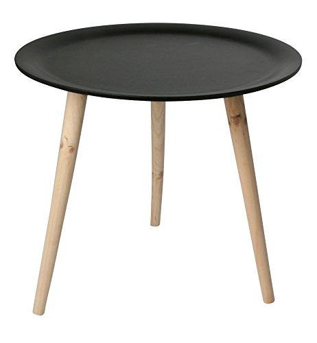 Retro Beistelltisch rund - 48 cm schwarz - Holz Tisch Couchtisch Nachttisch Sofatisch