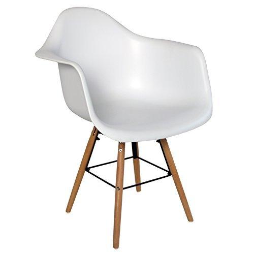 Retro Sessel Regie Schalenstuhl Pop Art Deco Esszimmer Stuhl Stühle Holz Vintage, Farbe:Weiß, Menge:2 Stühle
