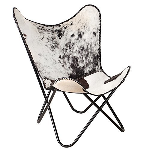 Sessel BUTTERFLY Kuhfell schwarz echt Fell weiß Stuhl Eisengestell Lounge Esszimmer Klappstuhl Loungesessel Liegestuhl