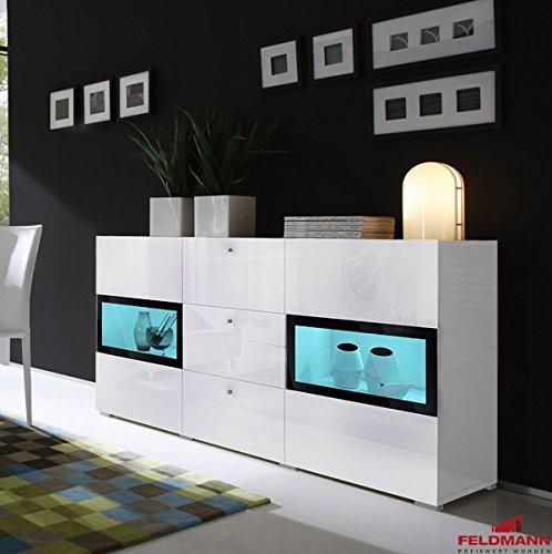 Sideboard 558016 Anrichte 132cm weiß Hochglanz / schwarz