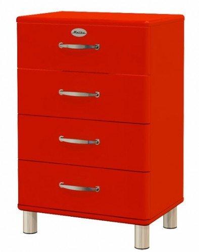 Sideboard Tenzo Malibu 60 cm mit 4 Schubladen MDF Farbe wählbar Matt, Farbe:Rot