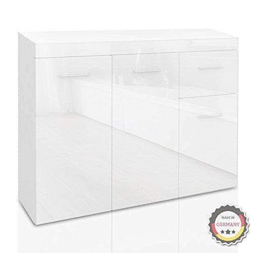 Sideboard Weiß Hochglanz - 105 x 78 cm - hochwertige Kommode deutscher Herstellung