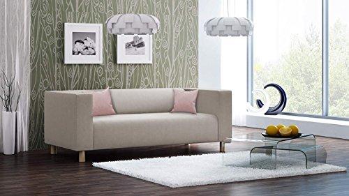 Sofa, Couch, 3-Sitzer, Polstersofa, Webstoff, Beige, Creme, Wohnzimmercouch, Designersofa, modern, retro, 3er Sofa