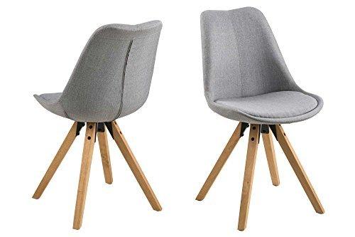 Stuhl, Esszimmerstühle, Set, Esstischstuhl, Küchenstuhl, Essstuhl, Lehnstuhl, hellgrauer Stoff, Eiche Rubberwood, gebeizt, geölt, skandinavisch