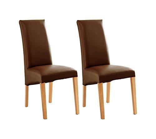 Stuhl, Esszimmerstuhl, Küchenstuhl, Polsterstuhl, 2er Set, Kunstleder, braun, Buche, massiv