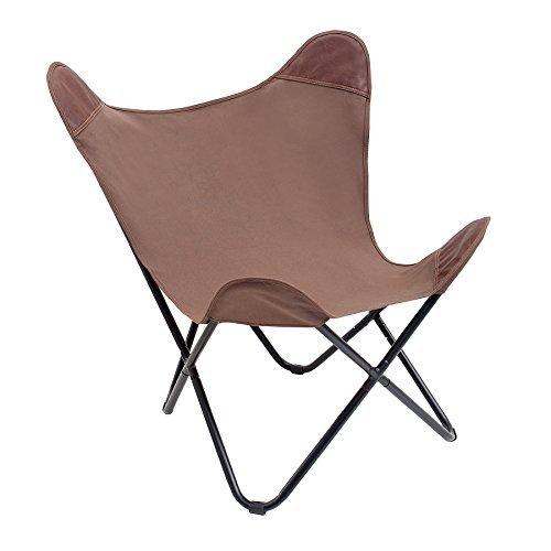 Stylischer Sessel BUTTERFLY braun Leinen Stuhl Eisengestell Lounge Esszimmer Klappstuhl Loungesessel Liegestuhl