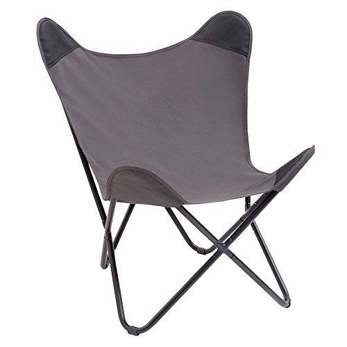 Stylischer Sessel BUTTERFLY grau Designklassiker mit Eisengestell Lounge Esszimmer Klappstuhl Loungesessel Liegestuhl