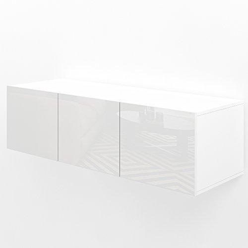 TV Lowboard 120cm Weiß Hochglanz Sideboard Wandschrank Fernsehschrank Wohnwand Hängeschrank kompakt schwebend hängend modern