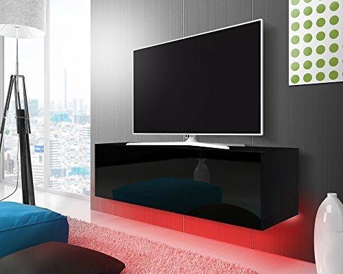 TV Schrank Lowboard Hängeboard SIMPLE mit LED Rot (schwarz matt / schwarz hochglanz 140 cm)