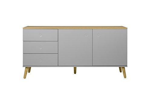Tenzo 1675-612 Dot Designer Sideboard Holz, grau / eiche, 43 x 162 x 79 cm