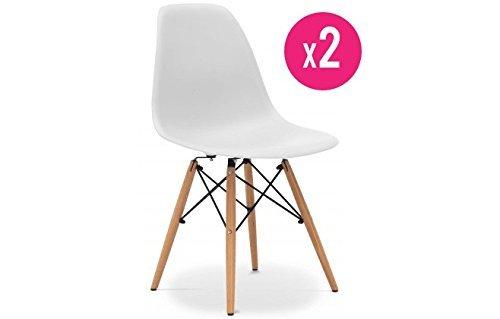 Trendige Stühle, Retro-Look, 2Stück, Weiß