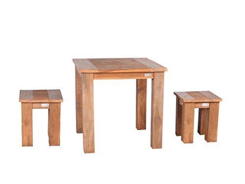 Trendy-Home24 3tlg. Teak Sitzgruppe Tisch 80 x 80 cm Sitzhocker Teakmöbel Teakhocker Teaktisch Massivholz Essgruppe Teakholz retro