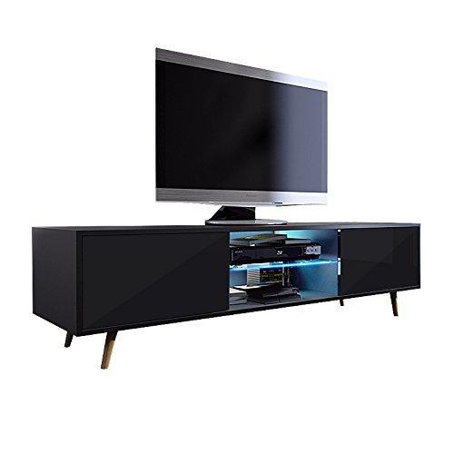 Tv Schrank Lowboard Sideboard Tisch Möbel Board Rivano mit LED - Beleuchtung (Schwarz Matt / Schwarz Hochglanz mit LED)