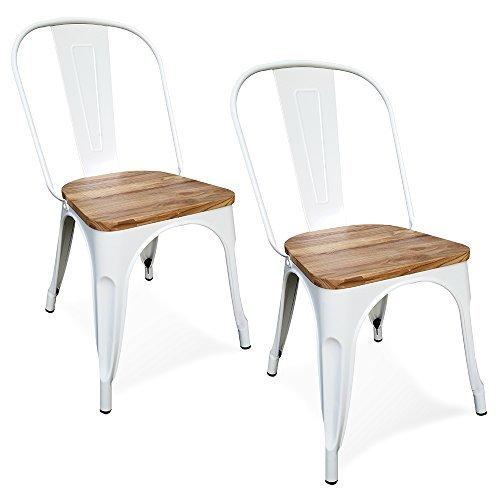 Victor - 2er Set - Metall Stuhl mit Holze sitze - indoor und outdoor - Weiß - Esszimmerstuhl Terrassenstuhl (Weiß)