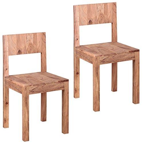 WOHNLING Esszimmerstühle 2er Set Massiv-Holz Akazie Design Küchen-Stühle 40x40 cm Holzstühle braun Landhaus-Stil Essstühle mit Lehne Natur-Produkt Design Stühle mit Beine Echt-Holz unbehandelt Unikat