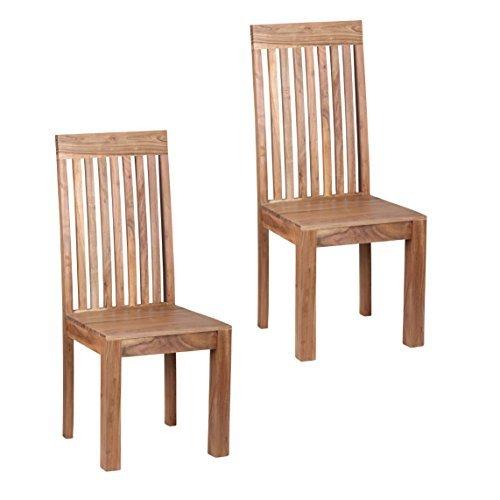 WOHNLING Esszimmerstühle 2er Set Massiv-Holz Akazie Küchen-Stühle Doppelpack Holzstühle dunkel-braun Landhaus-Stil Essstühle mit Lehne Natur-Produkt Design Stühle mit Beine Echt-Holz unbehandelt