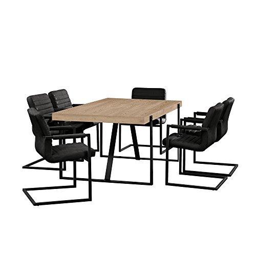 [en.casa] Esstisch Eiche Whitewash mit 6 Stühlen Freischwinger gepolstert schwarz 180x100cm Esszimmer Essgruppe Küche