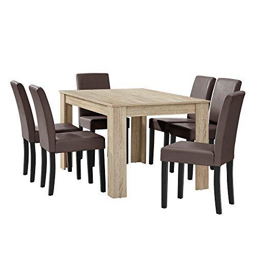[en.casa] Esstisch Eiche hell mit 6 Stühlen braun Kunstleder gepolstert 140x90 Essgruppe Esszimmer