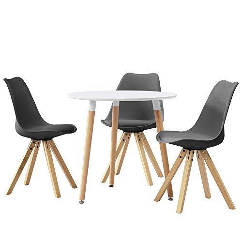 [en.casa] Esstisch rund weiß [Ø80cm] mit 3 Stühlen grau gepolstert Esszimmer Essgruppe Küche