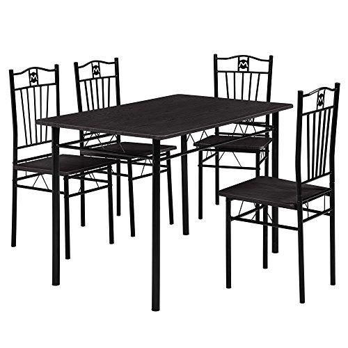 [en.casa] Esstisch und 4 Stühle (110 x 70 cm) (gepolstert) - im Sparpaket