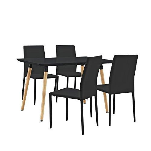 [en.casa] Stylischer Esstisch / Küchentisch (120x80cm) mit 4 Polster-Stühlen PU- Kunstleder schwarz - Essgruppe in Sparpaket