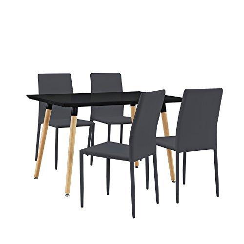 [en.casa] Stylischer Esstisch / Küchentisch (120x80cm) mit 4 Polster-Stühlen aus PU- Kunstleder schwarz + dunkelgrau - Essgruppe in Sparpaket