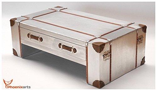 phoenixarts Industrie Design Couchtisch mit Schubladen Vintage Aluminium retro Tisch Beistelltisch 499