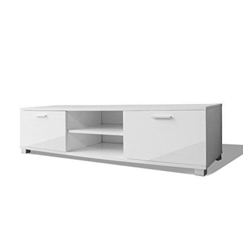 vidaXL Hochglanz TV-Schrank Fernsehtisch Lowboard Sideboard Weiß 140x40,3x34,7 cm