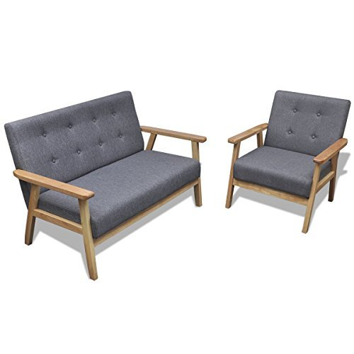 vidaXL Retro Holz Sofaset Couch Sofagarnitur Polstersessel Polstersofa Knopfdeko Grau