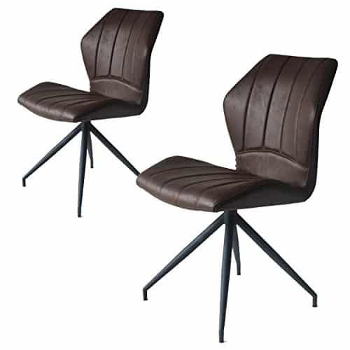 Jacky 2er set Design Stuhl mit Stoffbezug - Esszimmerstühle Stühle Designerstuhl (Burgundy)