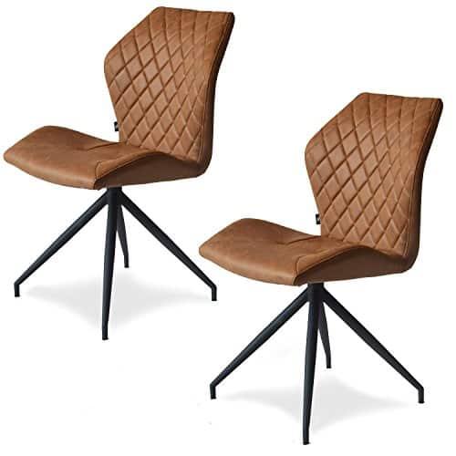 Rocky 2er set Design Stuhl mit Stoffbezug - Esszimmerstühle Stühle Designerstuhl (Cognac)