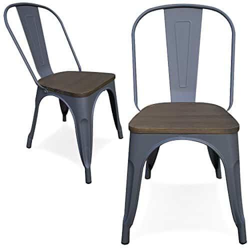 Victor - 2er Set - Metall Stuhl mit Holze sitze - indoor - grau Schwarz - Esszimmerstuhl Terrassenstuhl (Grau)