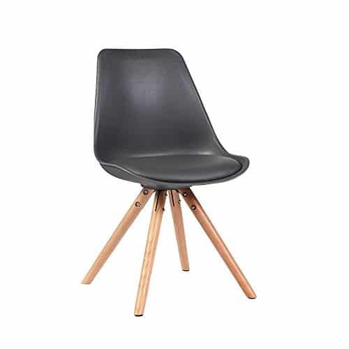 ALPHA 4er Set Stühle Designstuhl Esszimmerstuhl Wohnzimmerstuhl Beine Eiche massiv SCHWARZ (Schwarz)