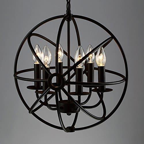 BAYCHEER Schmiedeeisen Globe Hängeleuchte Käfig Cage Industrielampe E12/E14, Ø 42 cm Pendelleuchte 6 Lampenfassungen Esszimmer Lampe Wohnzimmer Kronleuchter