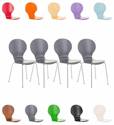 CLP 4 x Stapelstuhl DIEGO mit Holzsitz & ergonomisch geformter Sitzfläche, bis zu 12 Farben wählbar grau