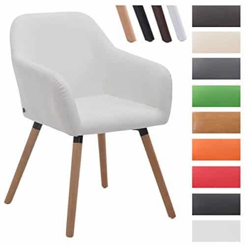 CLP Besucher-Stuhl ACHAT V2 mit Armlehne, max. Belastbarkeit 150 kg, Holz-Gestell, Kunstleder-Bezug, Sitzfläche gepolstert, mit Bodenschonern Weiß, Gestellfarbe: Natura