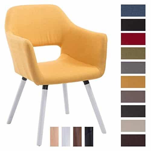 CLP Besucher-Stuhl AUCKLAND mit Armlehne, max. Belastbarkeit 160 kg, Holz-Gestell, Stoff-Bezug, Sitzfläche gepolstert, mit Bodenschonern Gelb, Gestellfarbe: Weiß