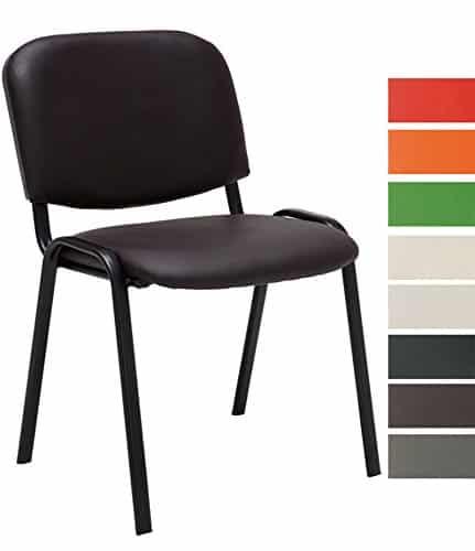 CLP Besucher-Stuhl stapelbar / Stapel-Stuhl KEN Kunstleder, preiswert, robust, bequem braun