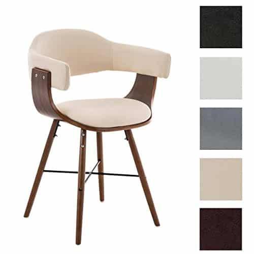 CLP Besucherstuhl BARRIE V2, walnuss, Retro-Stuhl mit Armlehne, Sitzfläche gut gepolstert, Holzgestell creme