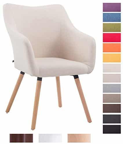 CLP Design Besucher-Stuhl MCCOY V2 mit Armlehne, Stoff-Bezug, Holz-Gestell, Sitzfläche gepolstert beige, Gestellfarbe: natura