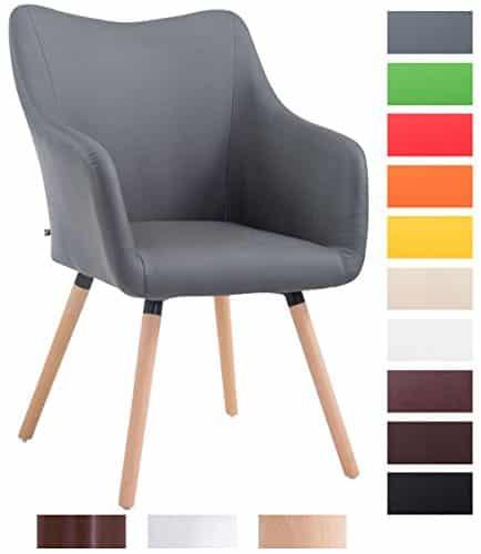 CLP Design Besucher-Stuhl MCCOY V2 mit Armlehne, max. Belastbarkeit 160 kg, Holz-Gestell, Kunstleder-Bezug, gepolstert grau, Gestellfarbe: natura