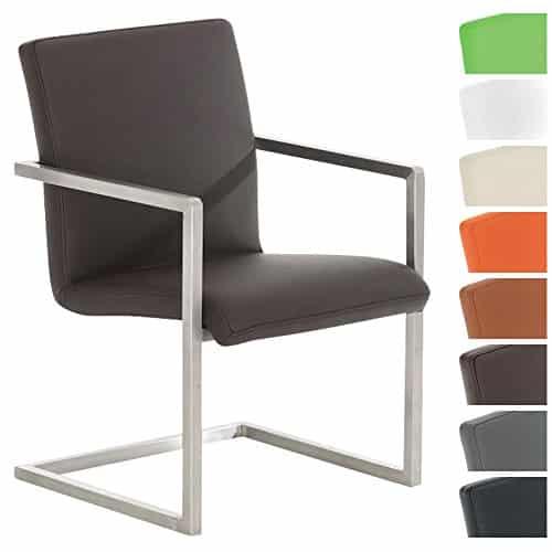 CLP Design Edelstahl Freischwinger-Stuhl JAVA V2, Besucherstuhl mit Armlehne, Konferenzstuhl gepolstert, Kunstleder-Bezug in verschiedenen Farben Braun