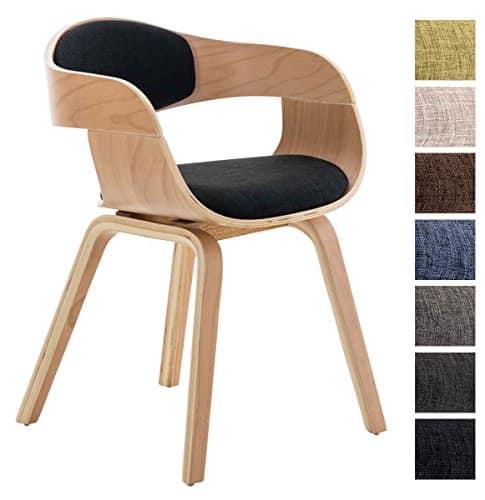 CLP Design Holz-Stuhl mit Armlehne KINGSTON Besucher-Stuhl gepolstert, Stoffbezug Stoff: schwarz / Gestell: natura
