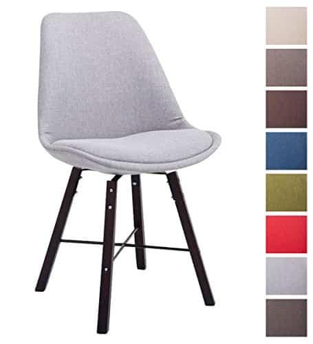 CLP Design Retro Stuhl LAFFONT, Sitz-Bezug Stoff grau, Holzgestell Farbe cappuccino
