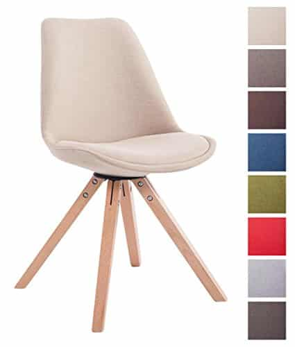 CLP Design Retro-Stuhl TOULOUSE SQUARE, Stoffbezug gepolstert creme, Holzgestell Farbe natura, Bein-Form eckig