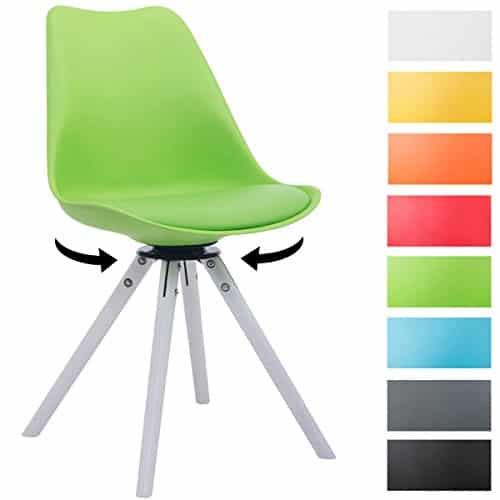 CLP Design Retro-Stuhl TROYES RUND, Kunststoff-Lehne, Kunstleder-Sitz, drehbar, gepolstert grün, Holzgestell Farbe weiß, Form rund