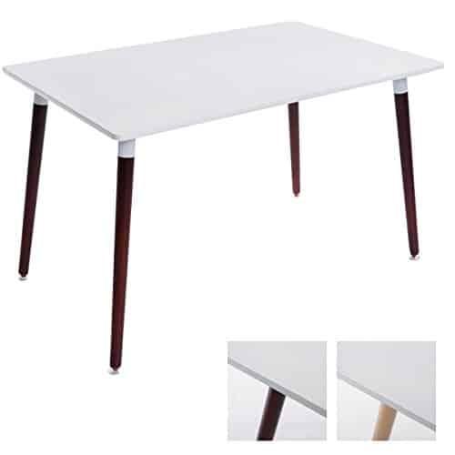 CLP Ess-Tisch BJARNE weiß, eckig, Holz-Beine, 120x80 cm, Design, mit Bodenschoner cappuccino